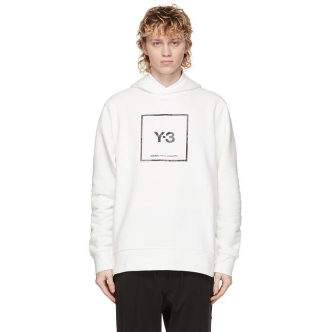 Photo: Y-3 White U Square Label Graphic Hoodie