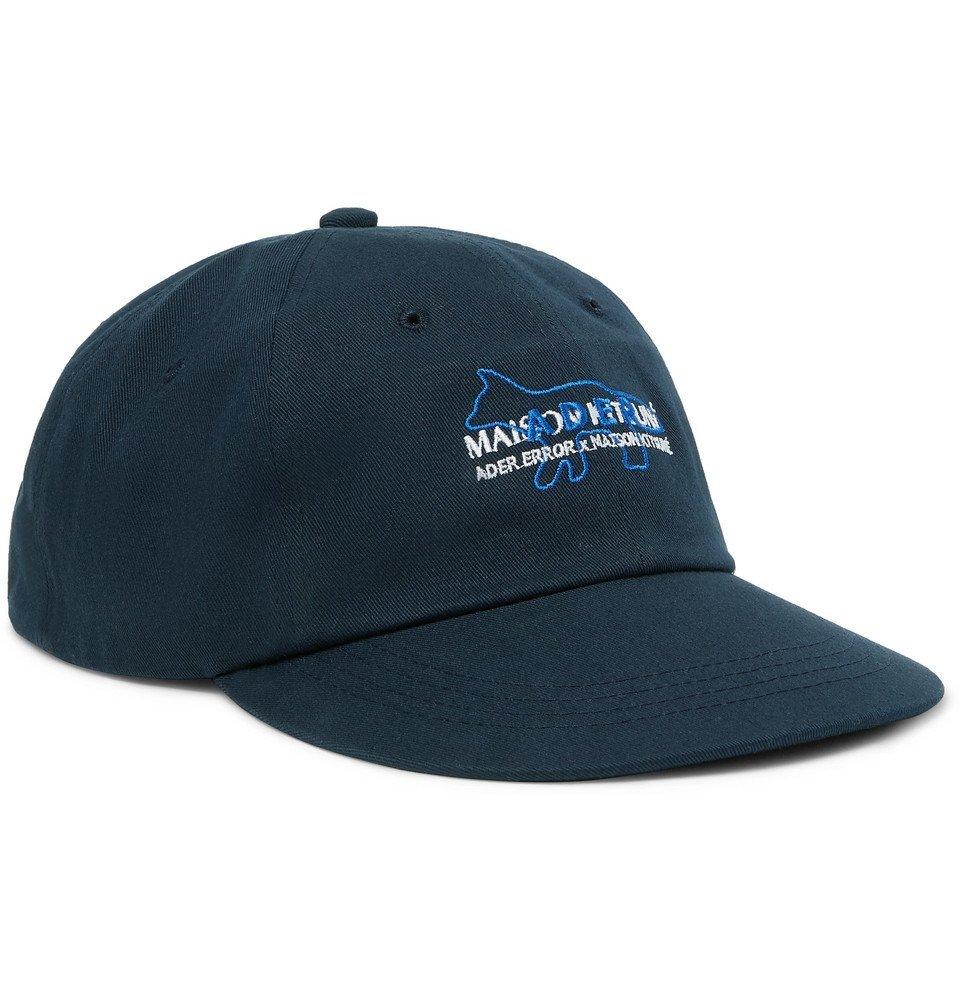 Photo: Maison Kitsuné - ADER Error Logo-Embroidered Cotton-Twill Baseball Cap - Navy