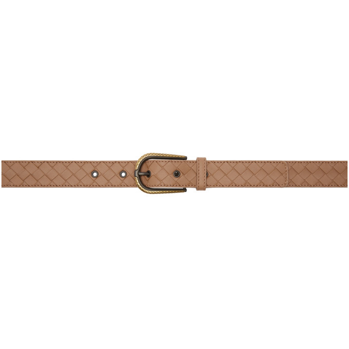 Photo: Bottega Veneta Pink Intrecciato Belt