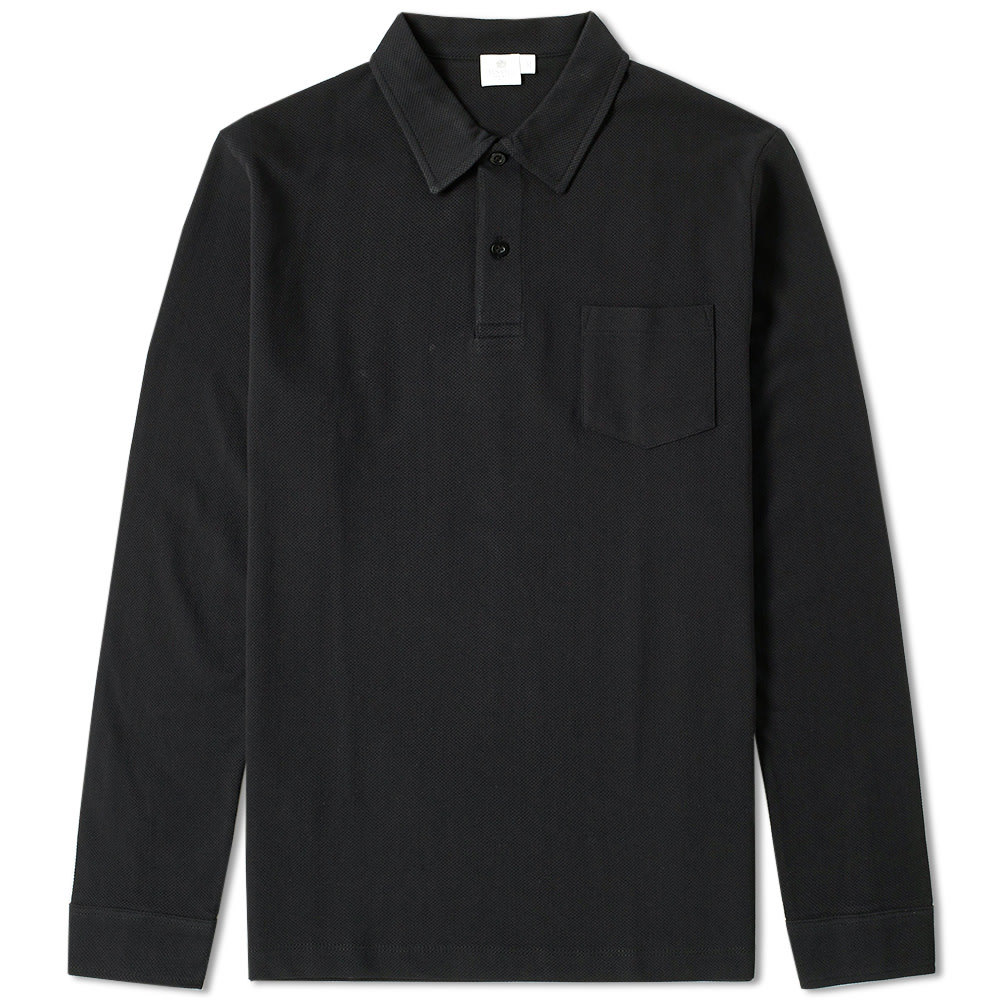 Sunspel Long Sleeve Riviera Polo Black