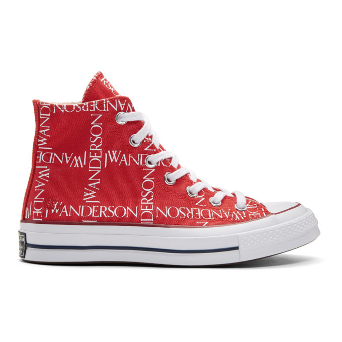 Photo: JW Anderson Red Converse Edition Grid Logo Sneakers
