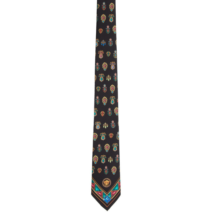Photo: Versace Black Silk Printed Tie