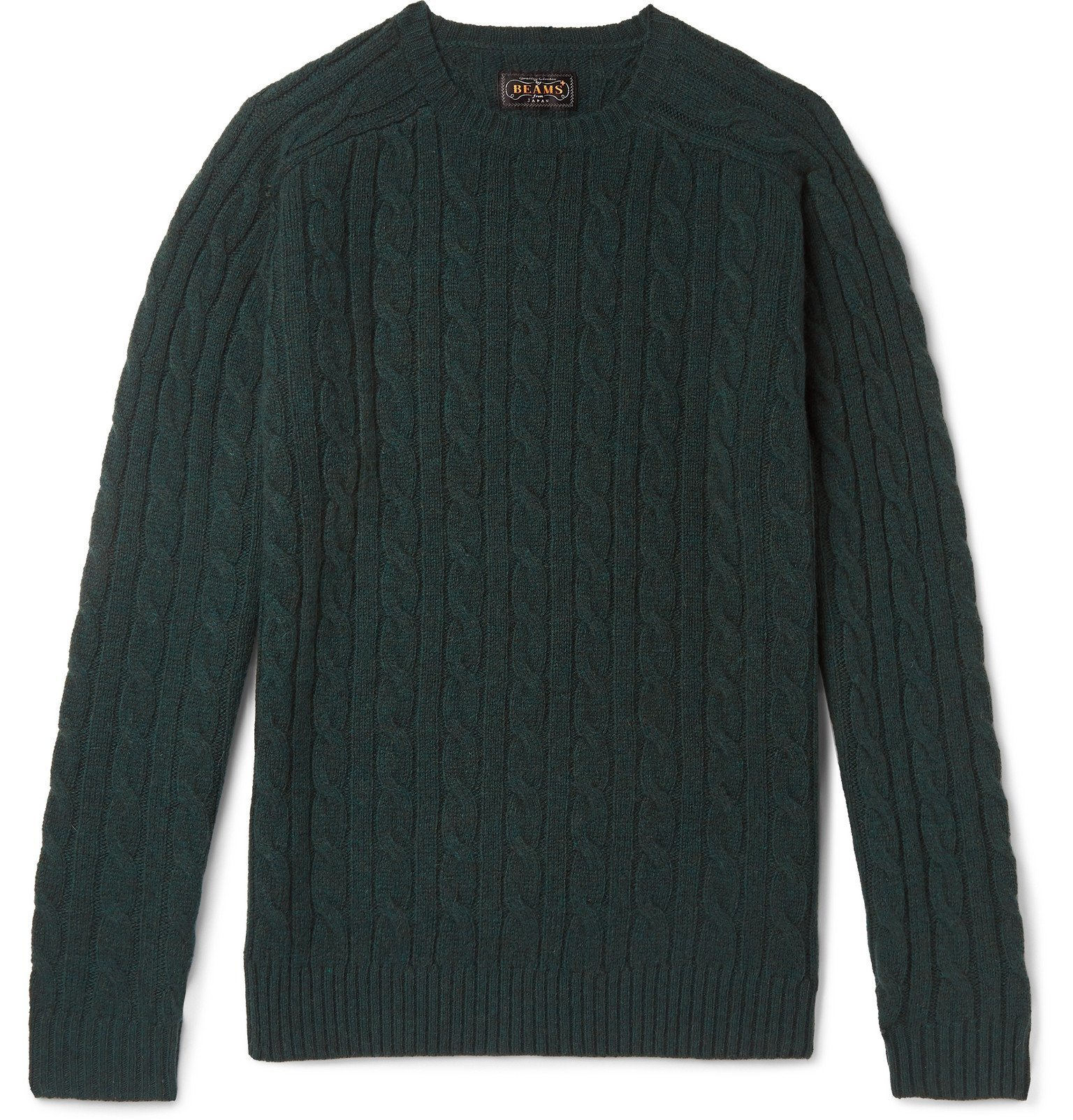 Photo: Beams Plus - Slim-Fit Cable-Knit Wool Sweater - Green