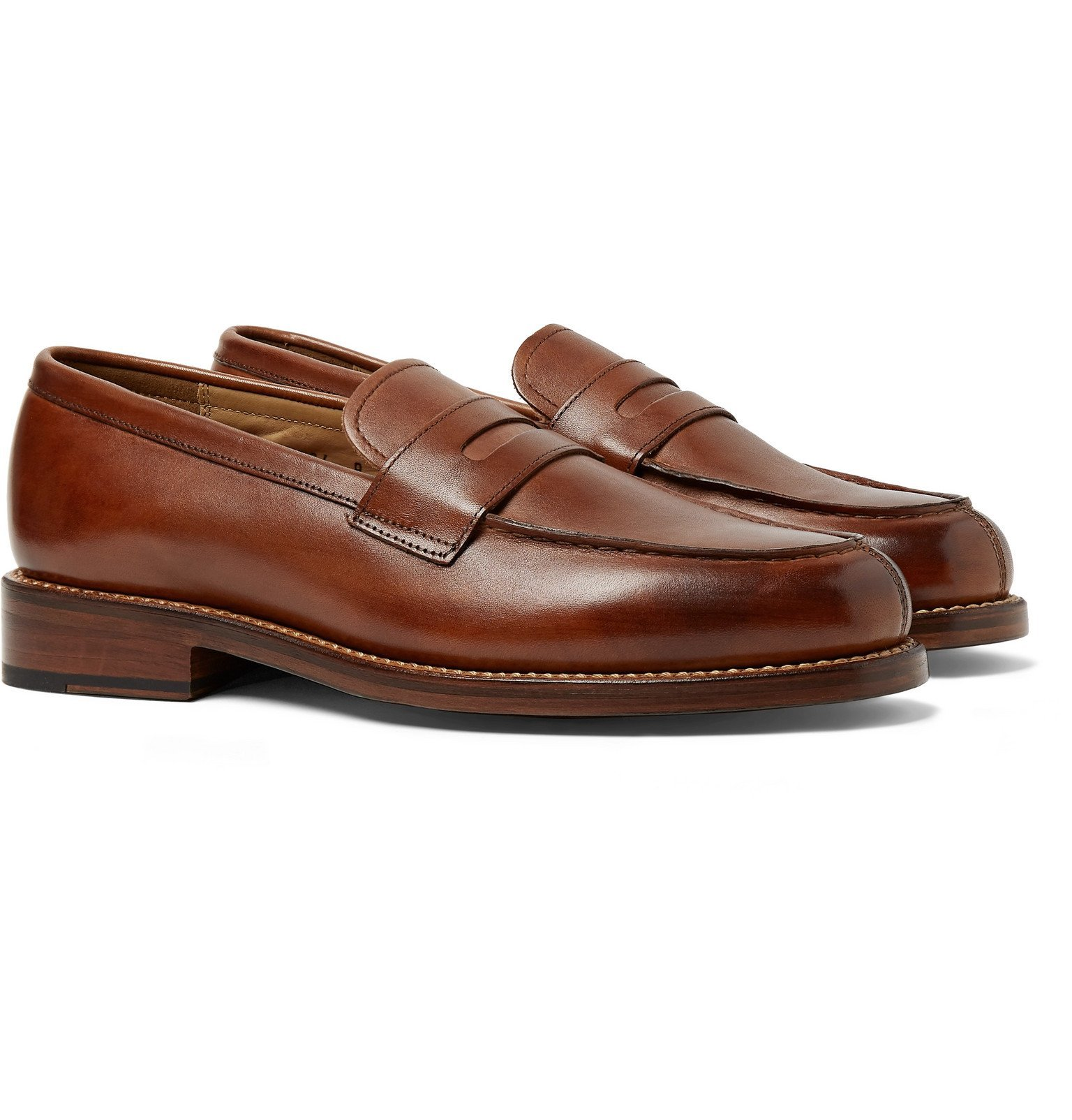 Photo: Grenson - Peter Hand-Painted Leather Penny Loafers - Brown