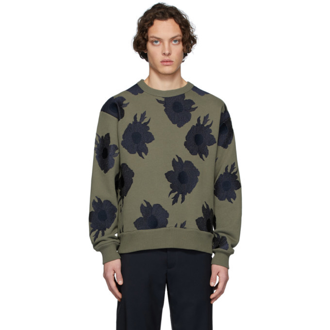 Photo: Dries Van Noten Khaki and Navy Embroidered Hefel Sweatshirt