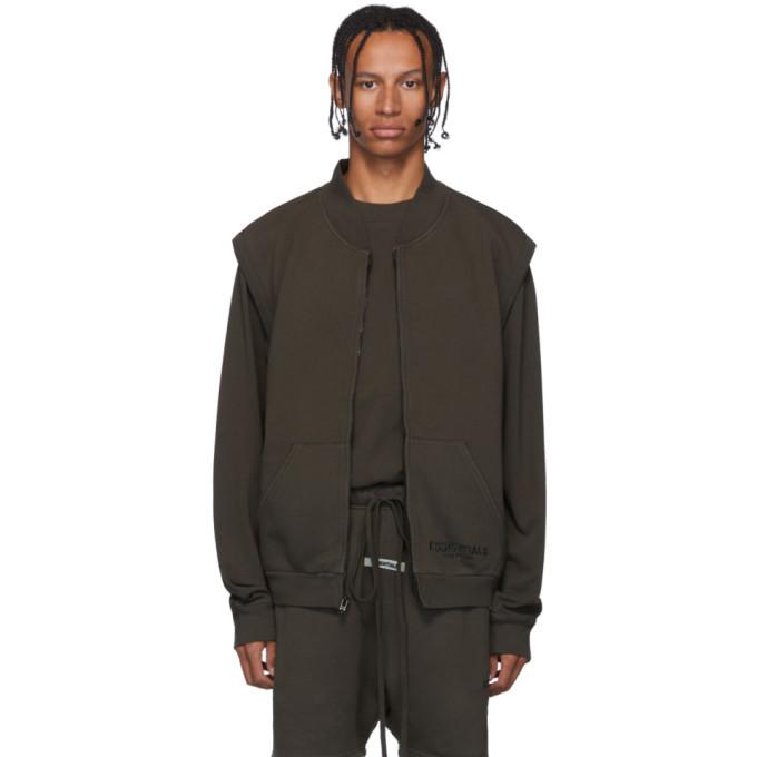 Photo: Essentials SSENSE Exclusive Khaki Sleeveless Zip-Up Sweater
