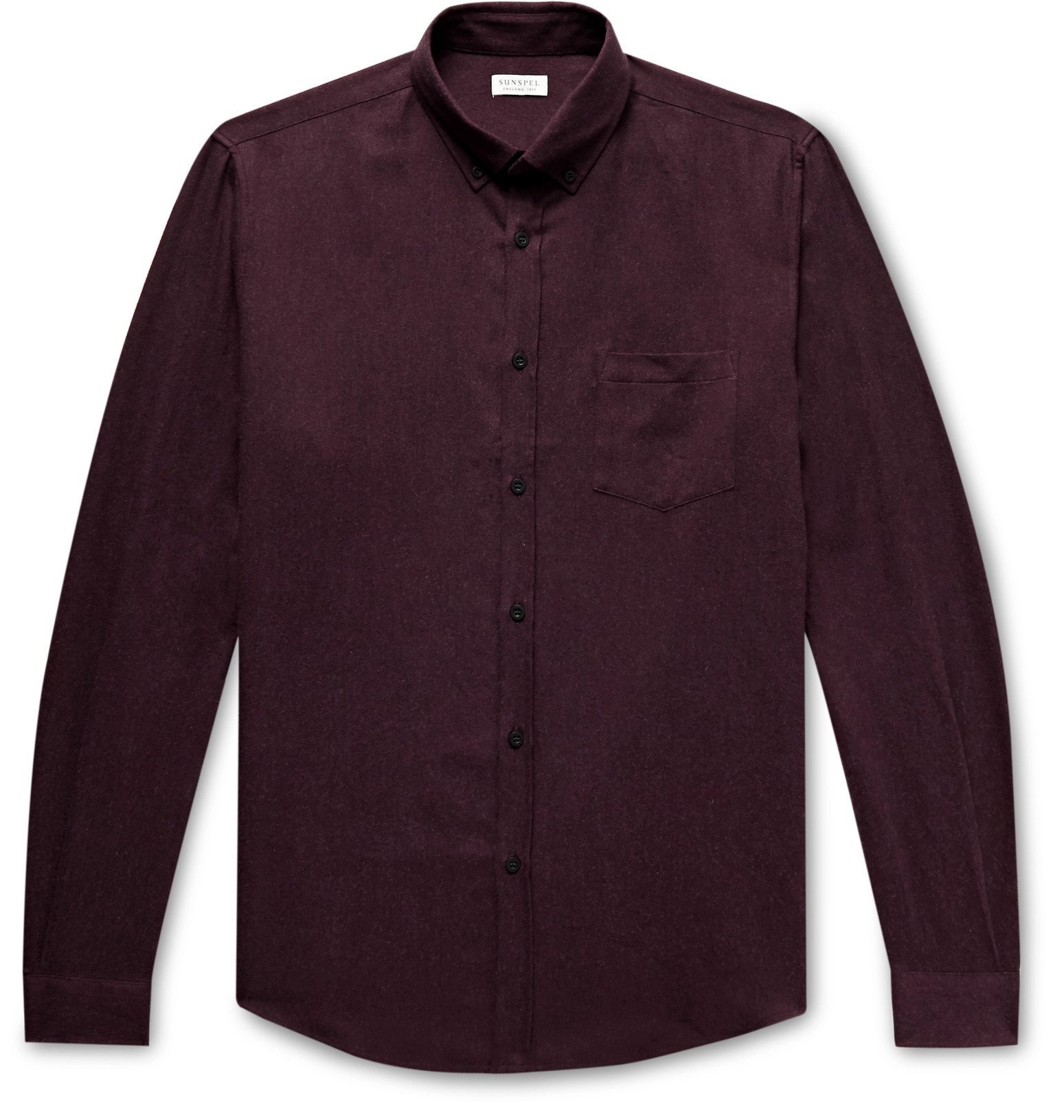 Sunspel - Button-Down Collar Brushed Cotton-Flannel Shirt - Burgundy