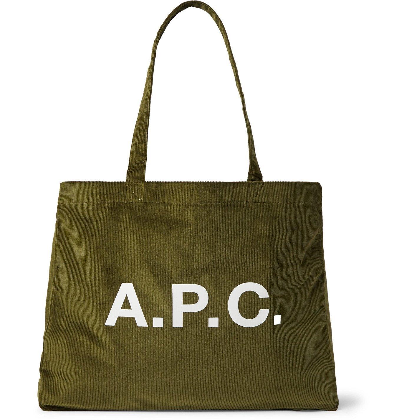 Photo: A.P.C. - Logo-Print Cotton-Corduroy Tote Bag - Green