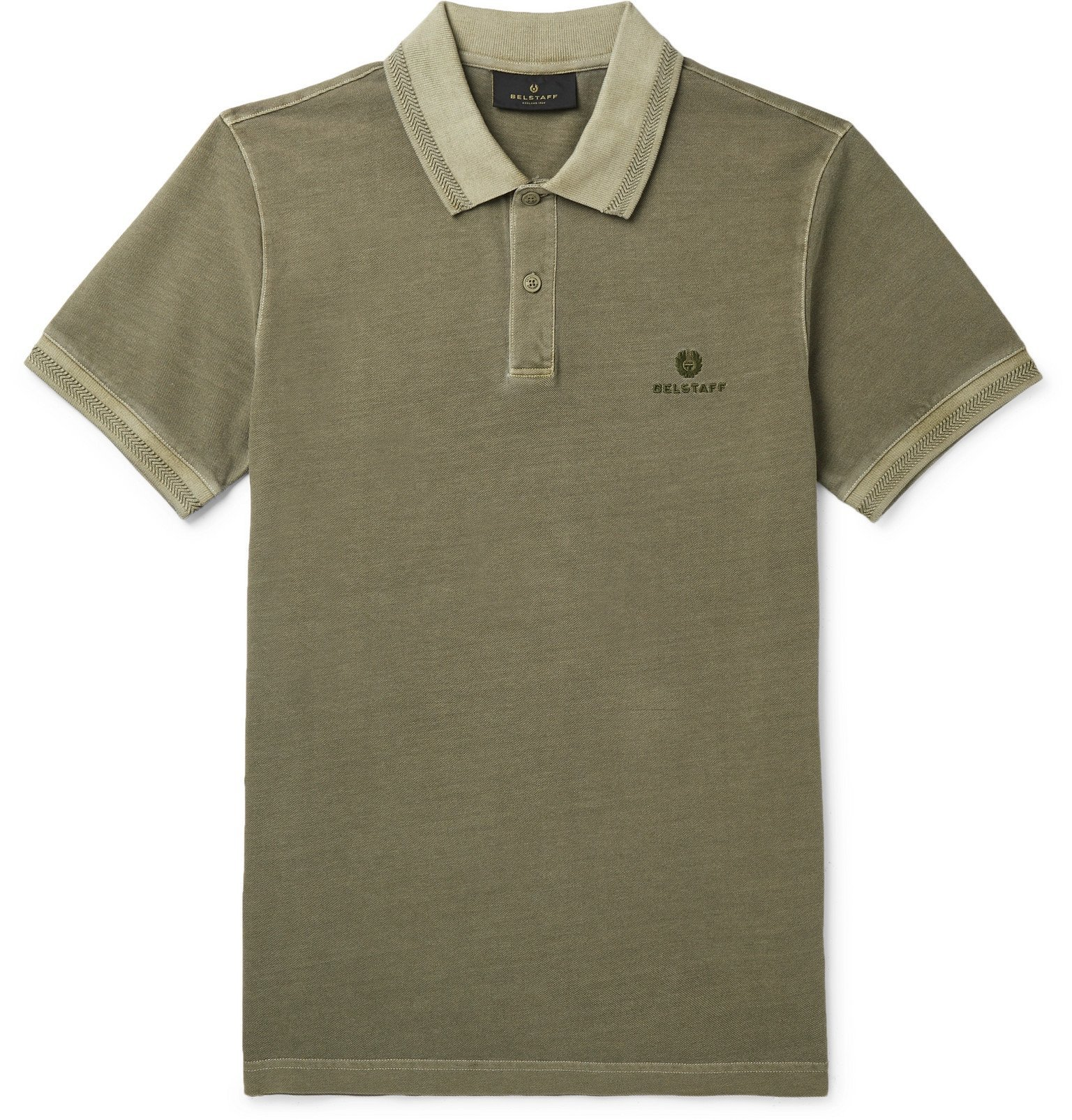 Photo: Belstaff - Slim-Fit Logo-Embroidered Cotton-Piqué Polo Shirt - Green