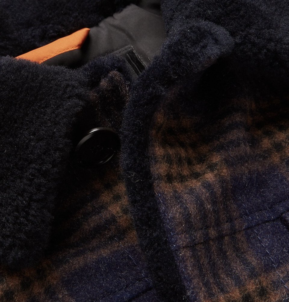 Tod's - Shearling-Lined Checked Wool Bomber Jacket - Navy