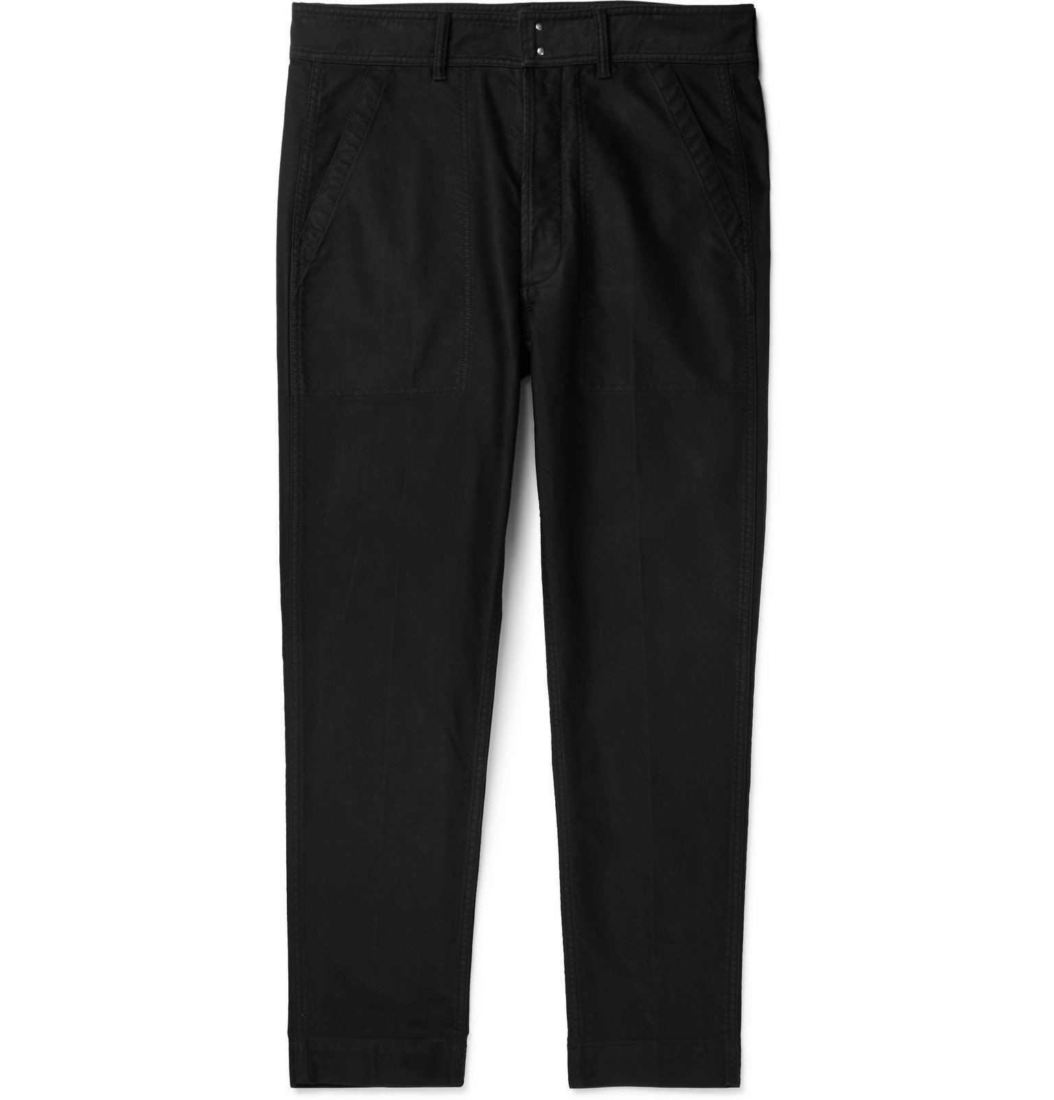 Photo: TOM FORD - Slim-Fit Cotton-Satin Trousers - Blue