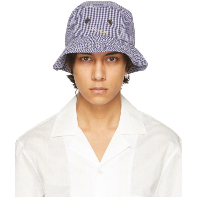 Photo: Acne Studios Blue and White Check Logo Bucket Hat