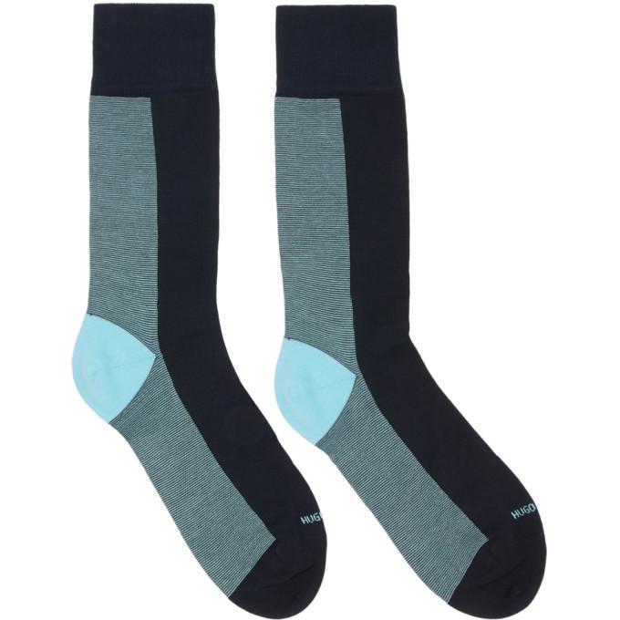 Photo: Boss Navy Half Stripe Socks