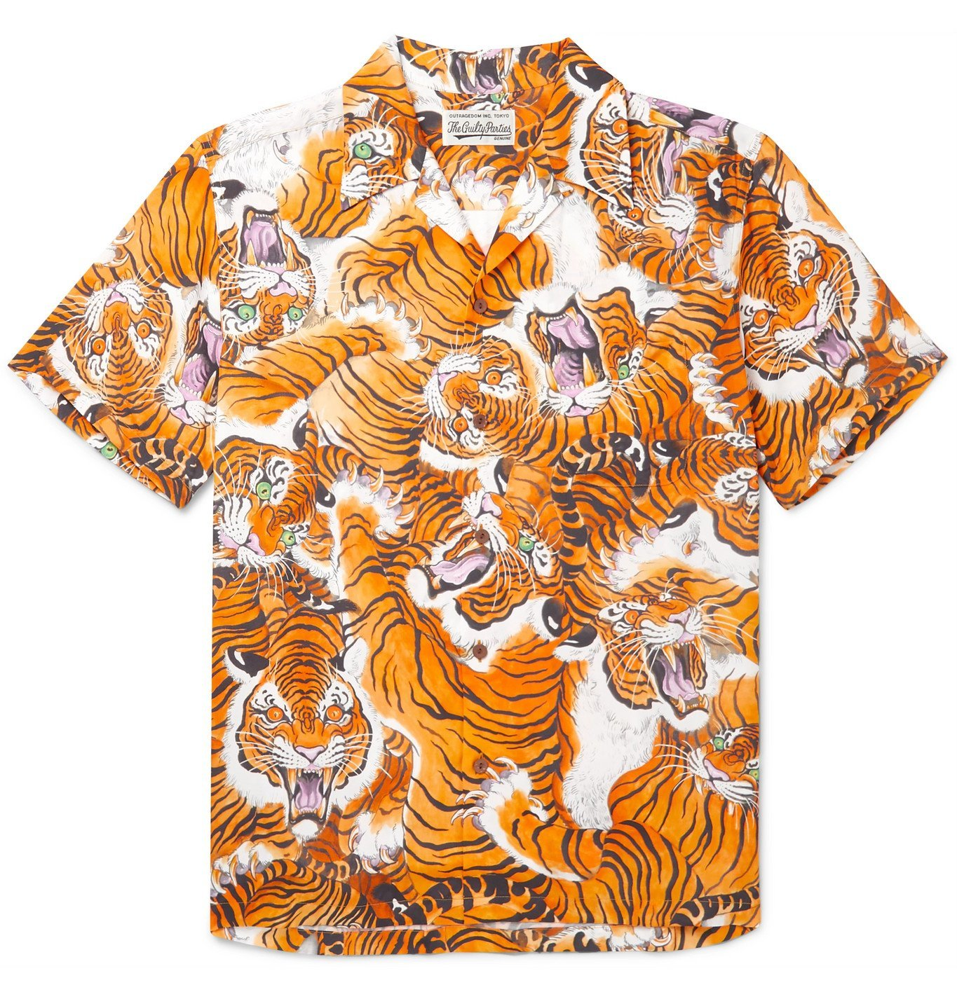 Photo: Wacko Maria - Tim Lehi Camp-Collar Printed Woven Shirt - Orange
