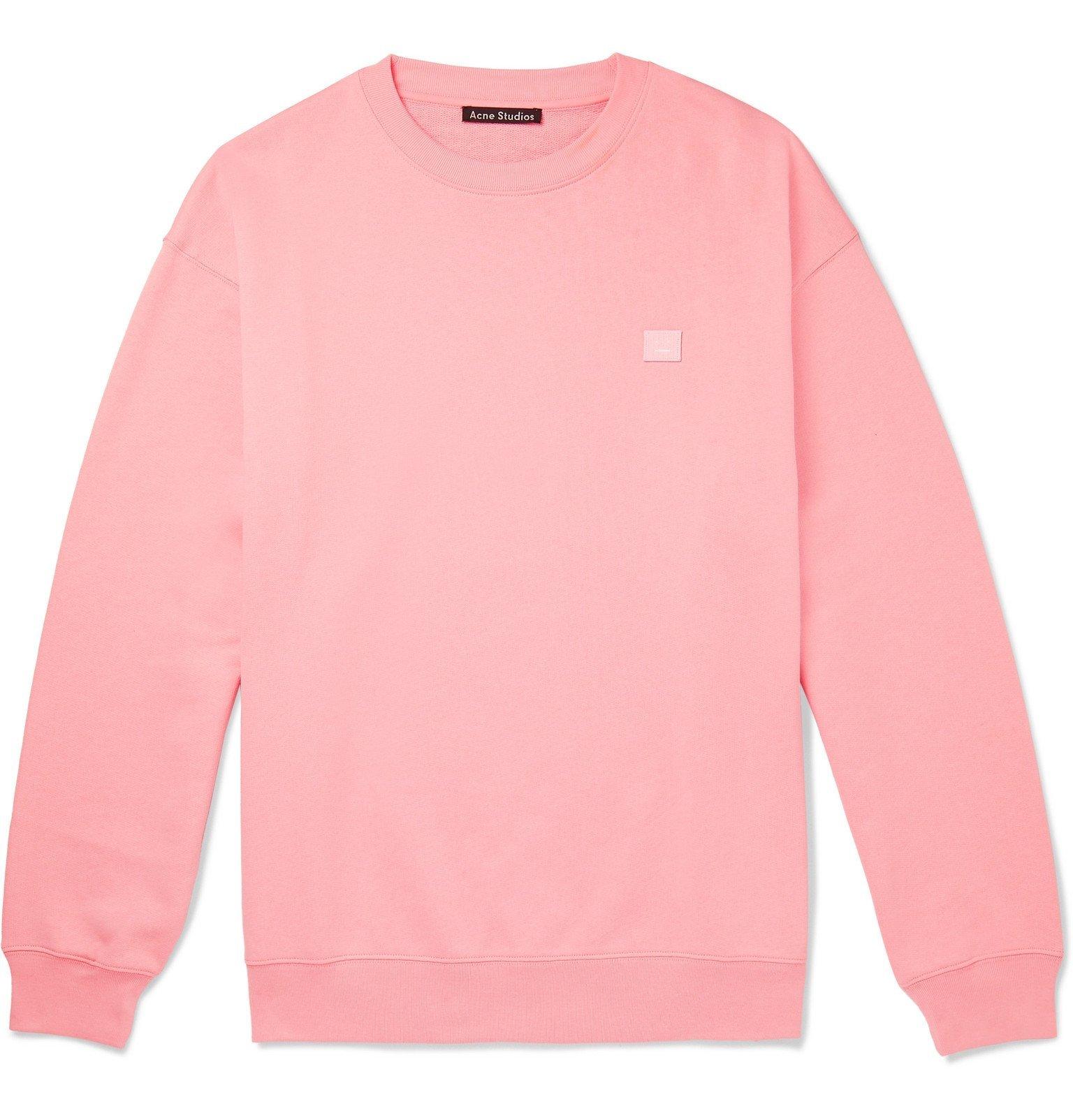 Photo: Acne Studios - Forba Logo-Appliquéd Loopback Cotton-Jersey Sweatshirt - Pink