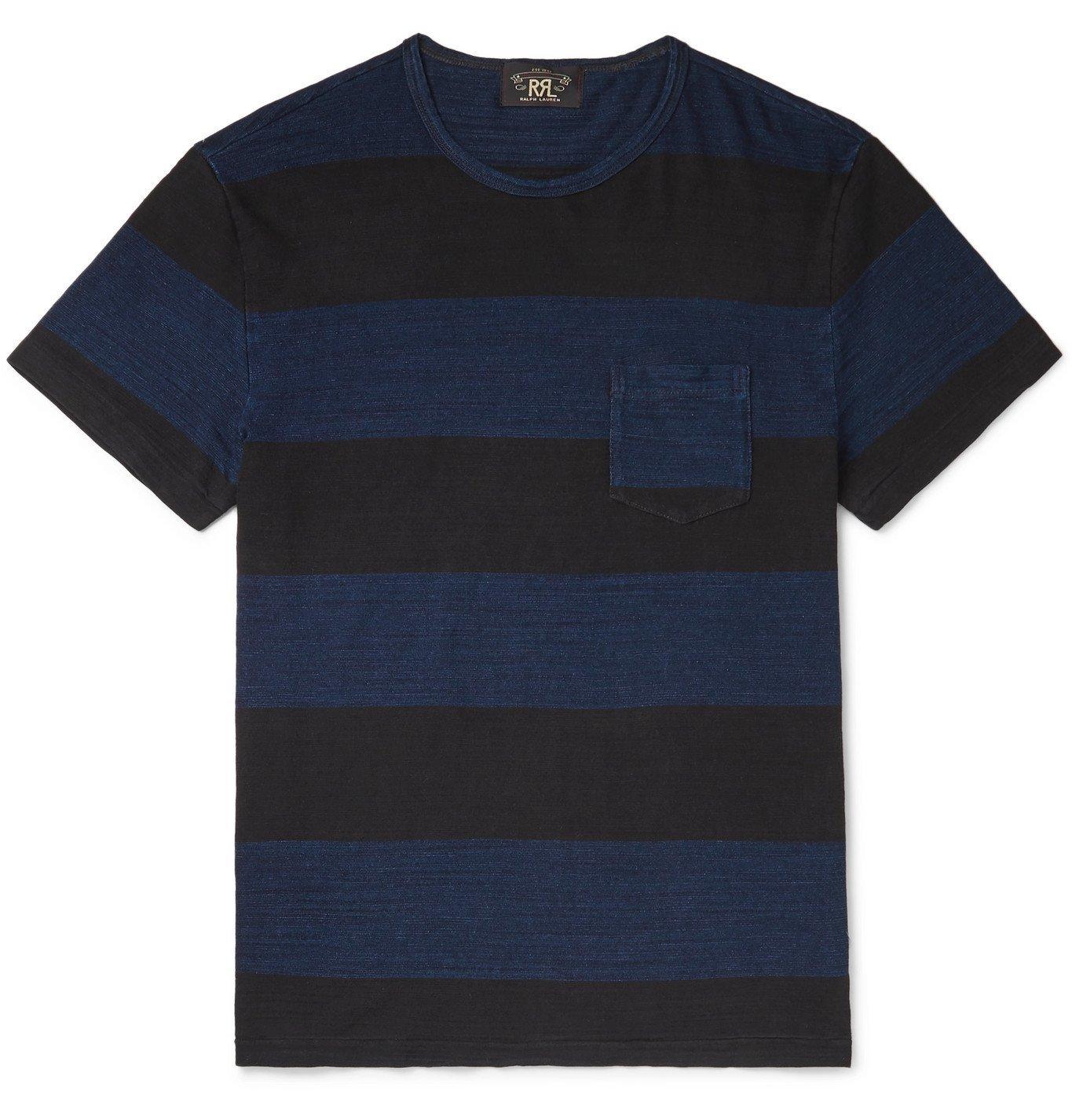 RRL - Striped Mélange Cotton-Jersey T-Shirt - Blue