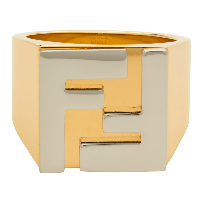 Photo: Fendi Gold and Silver Forever Fendi Logo Signet Ring