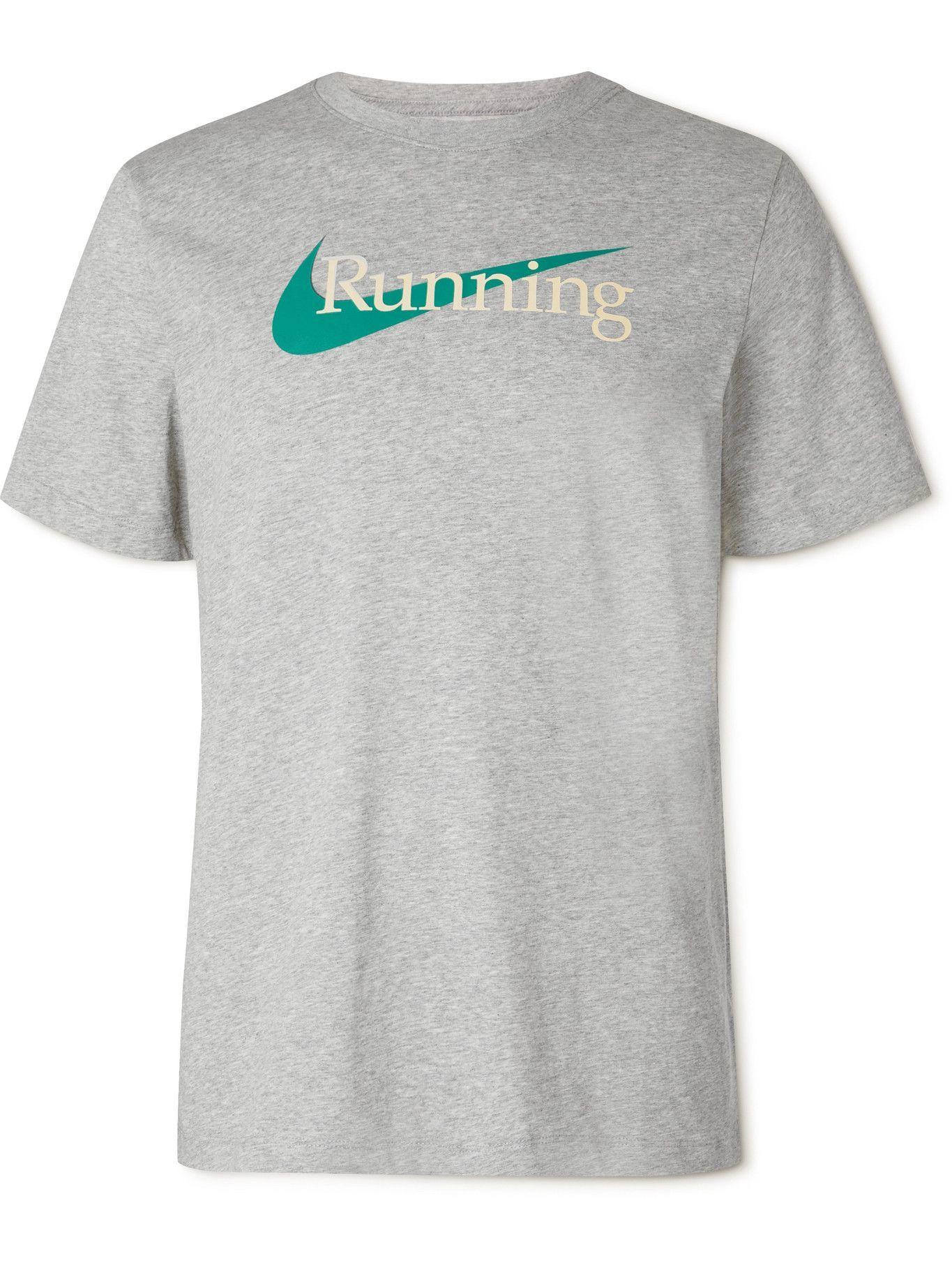 NIKE RUNNING - Logo-Print Mélange Dri-FIT Jersey T-Shirt - Gray