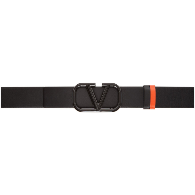 Photo: Valentino Reversible Black and Orange Valentino Garavani Lacquered VLogo Belt