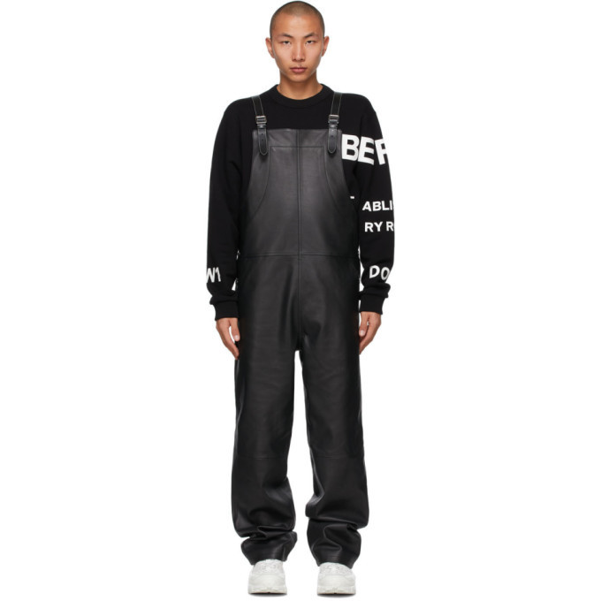 Photo: Burberry Black Leather Shark Fin Overalls