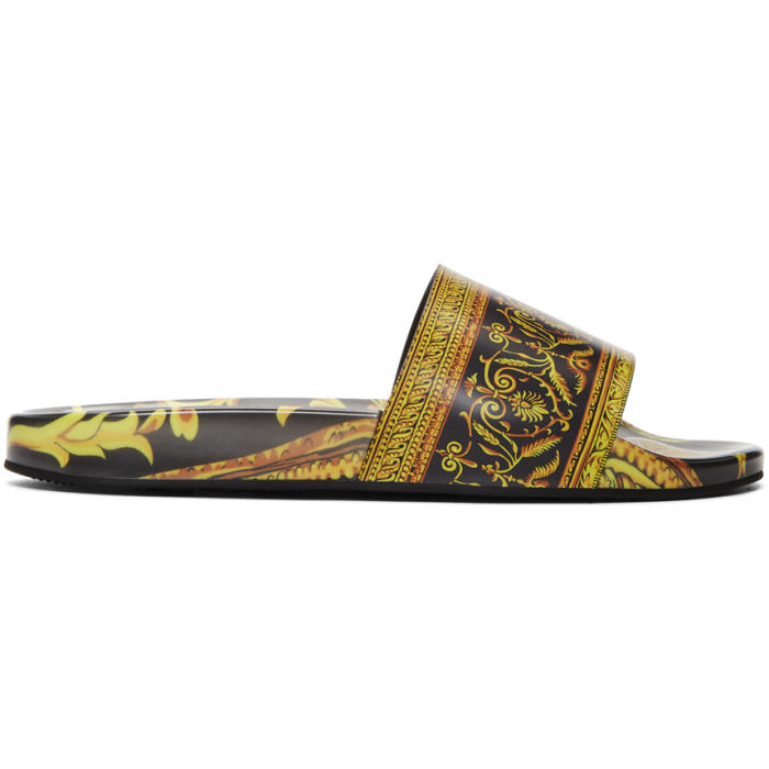 Photo: Versace Black and Gold  Baroque Slides