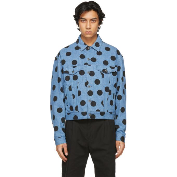 Photo: Moschino Blue Denim Polka Dot Jacket