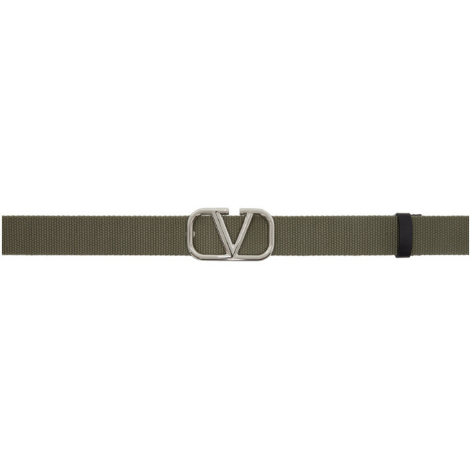 Valentino Khaki Valentino Garavani VLogo Tape Belt