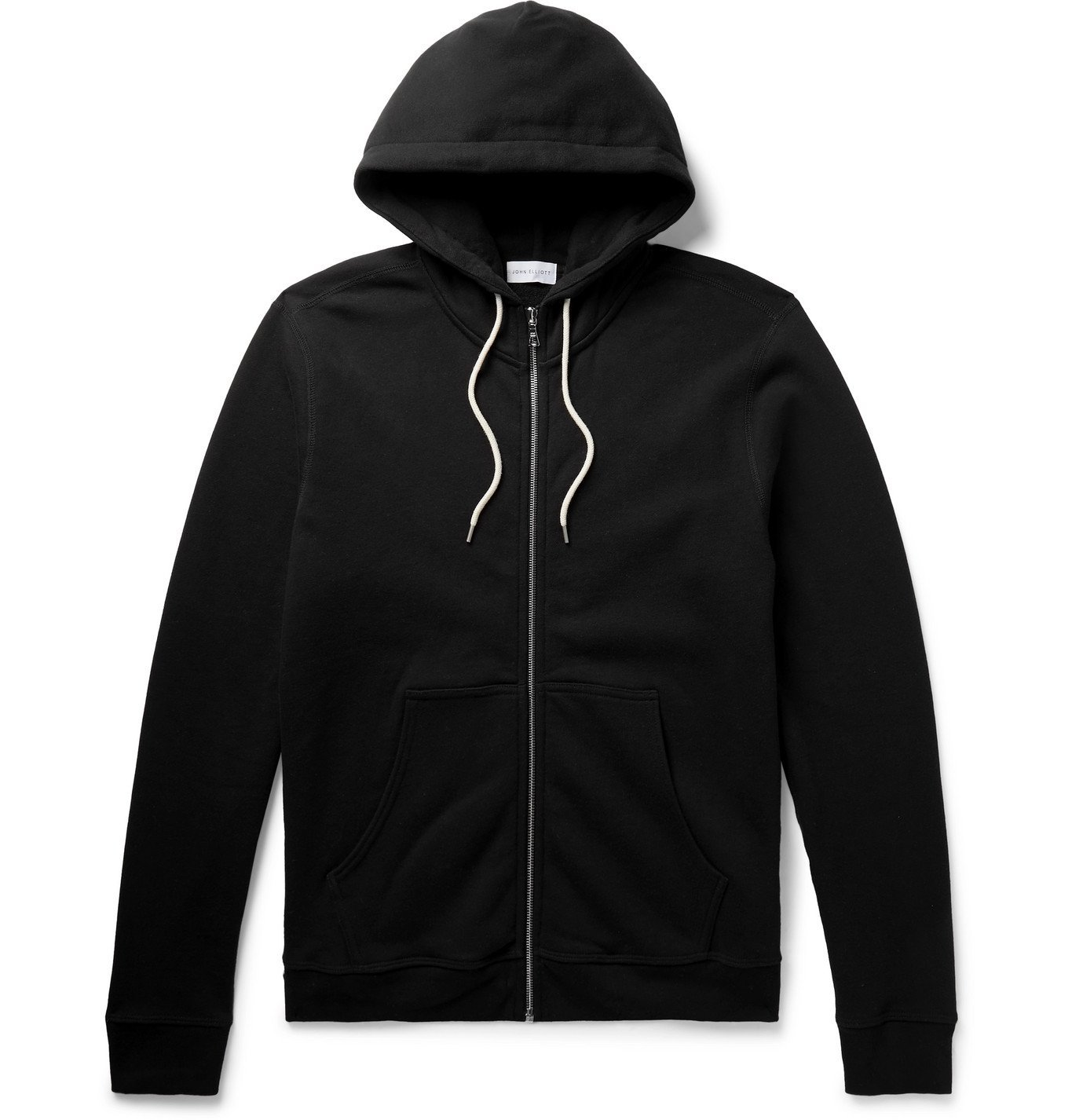 Photo: John Elliott - Loopback Cotton-Blend Jersey Zip-Up Hoodie - Black