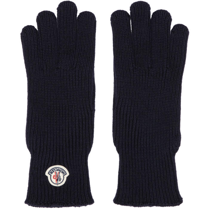 Photo: Moncler Navy Wool Logo Gloves