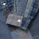 RRL - Grandad-Collar Patchwork Cotton-Blend Shirt - Blue