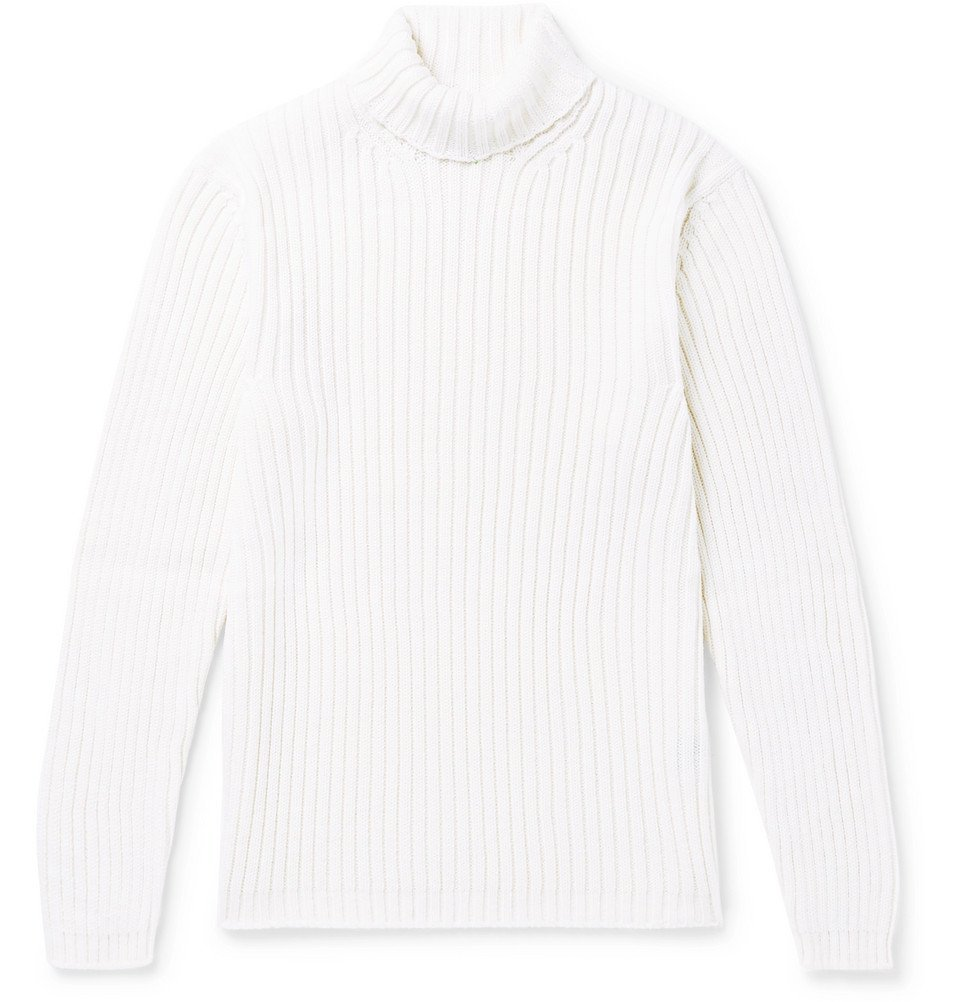 Dunhill - Slim-Fit Ribbed Merino Wool Rollneck Sweater - Men - White