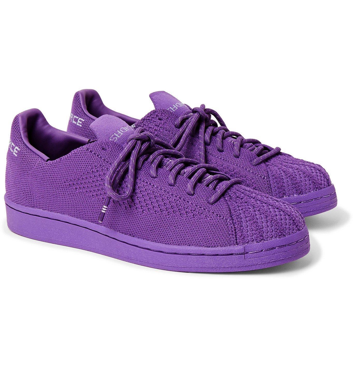 ADIDAS ORIGINALS - Pharrell Williams Superstar Embroidered Primeknit Sneakers - Purple