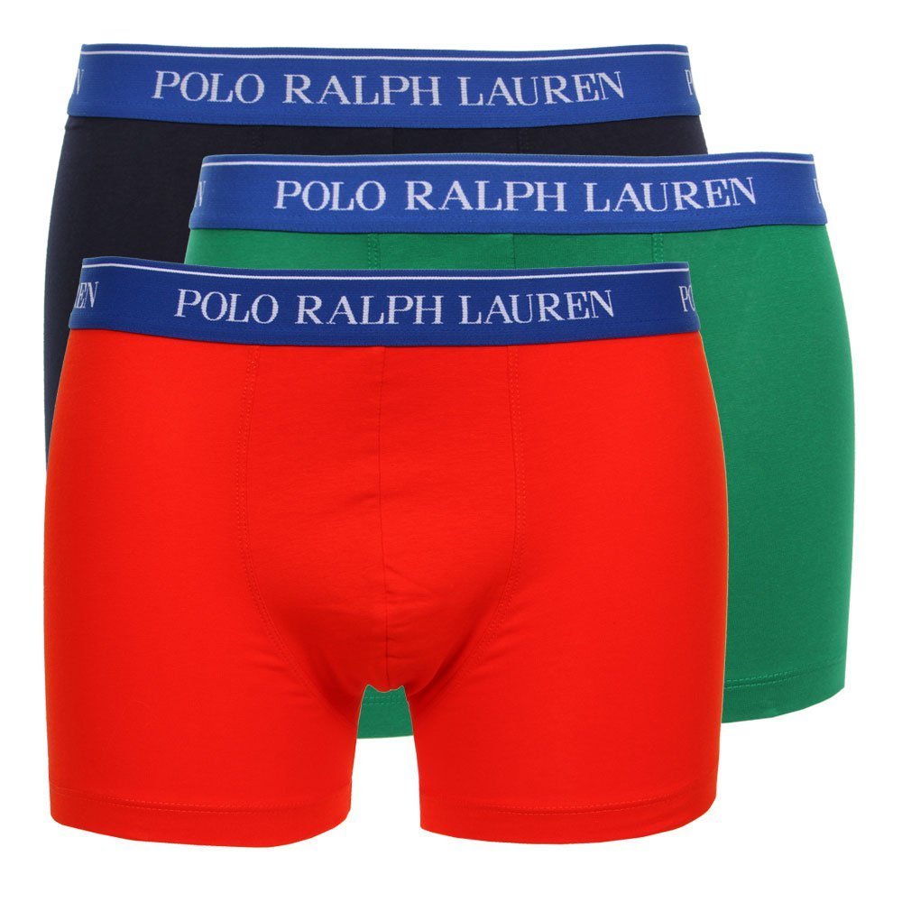 Photo: Three Pack Boxer Shorts - Red / Green / Navy