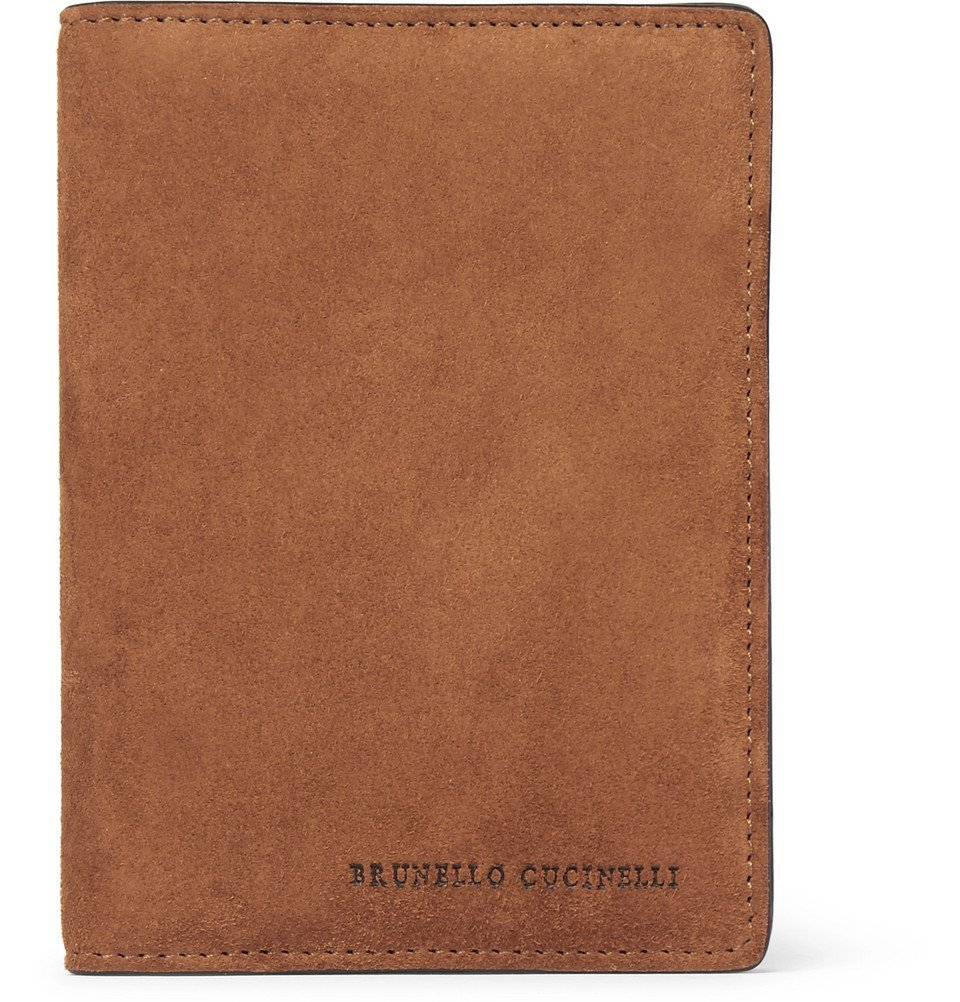 Photo: Brunello Cucinelli - Suede and Textured-Leather Passport Cover - Men - Tan