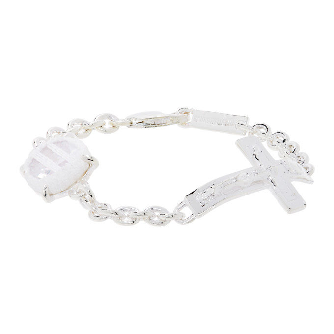 Photo: SWEETLIMEJUICE Silver and White Denim Oval Crucifix Heavy Bracelet