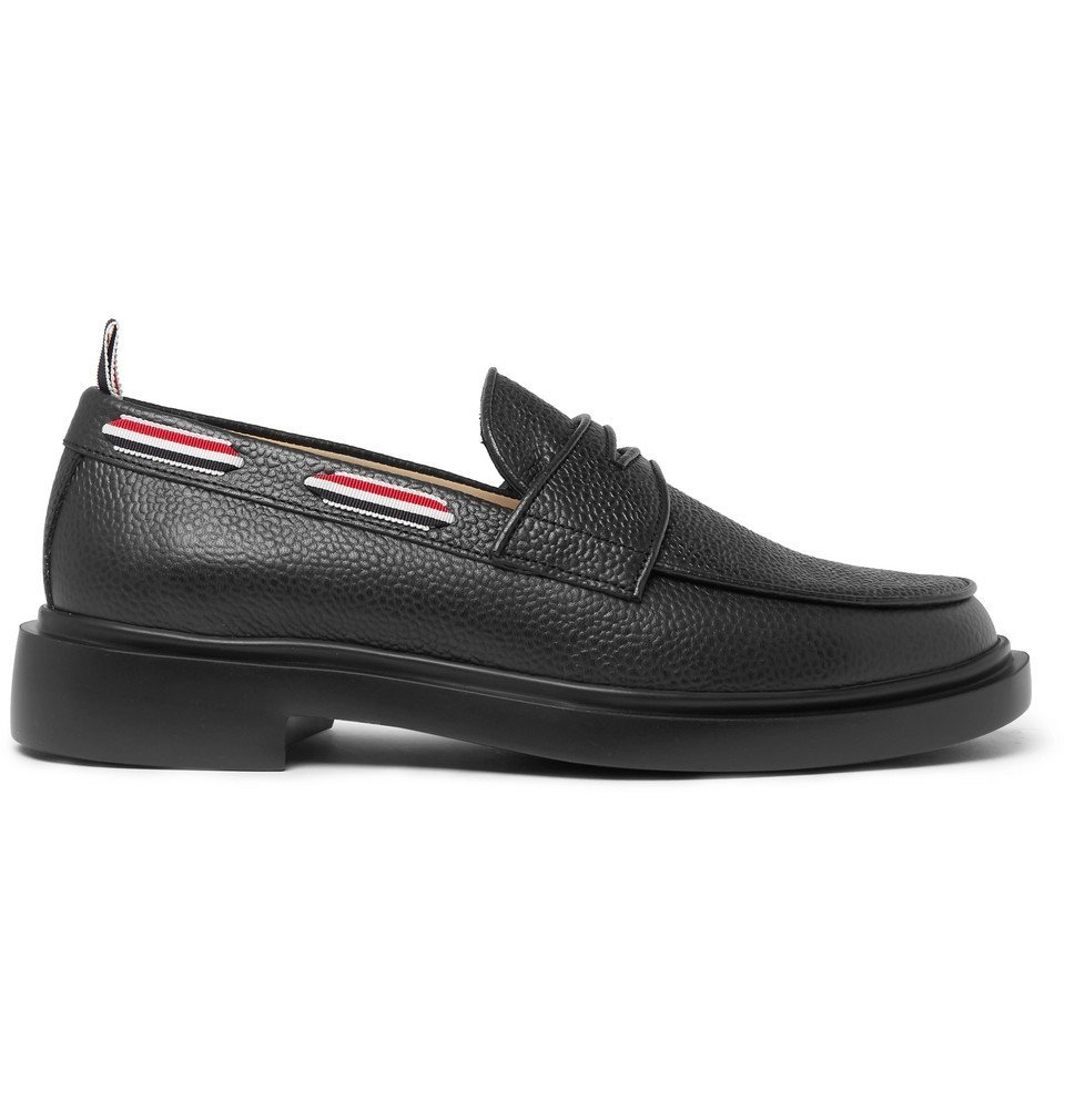 Photo: Thom Browne - Grosgrain-Trimmed Pebble-Grain Leather Penny Loafers - Black
