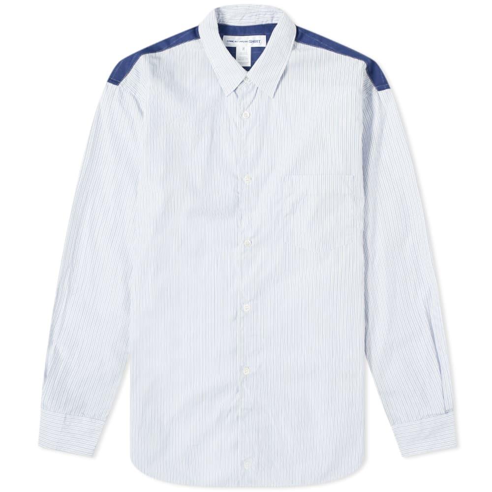 Photo: Comme des Garcons SHIRT Contrast Panel Striped Shirt