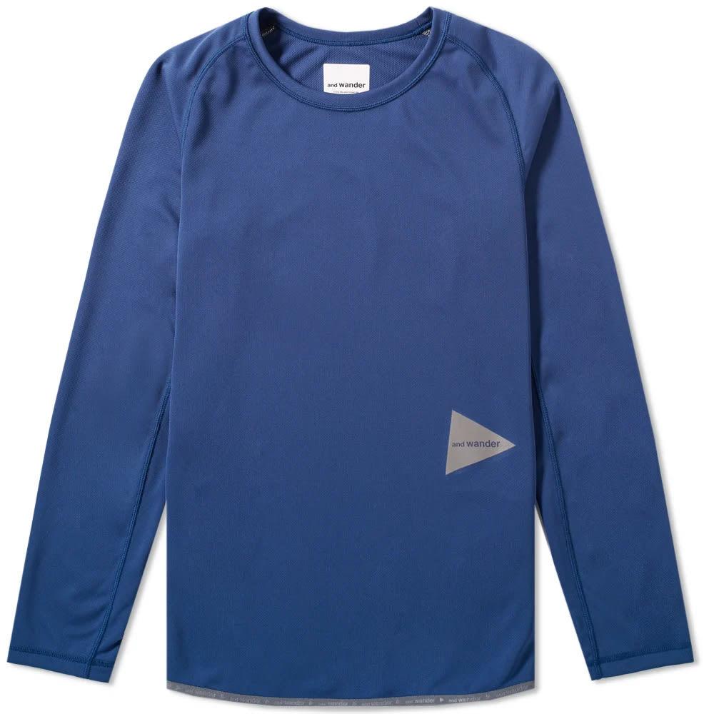 Photo: And Wander Long Sleeve Dry Jersey Raglan Tee Blue