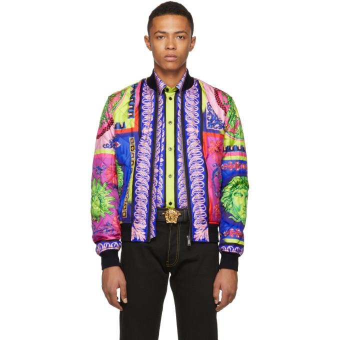 Photo: Versace Multicolor Neon Bomber Jacket