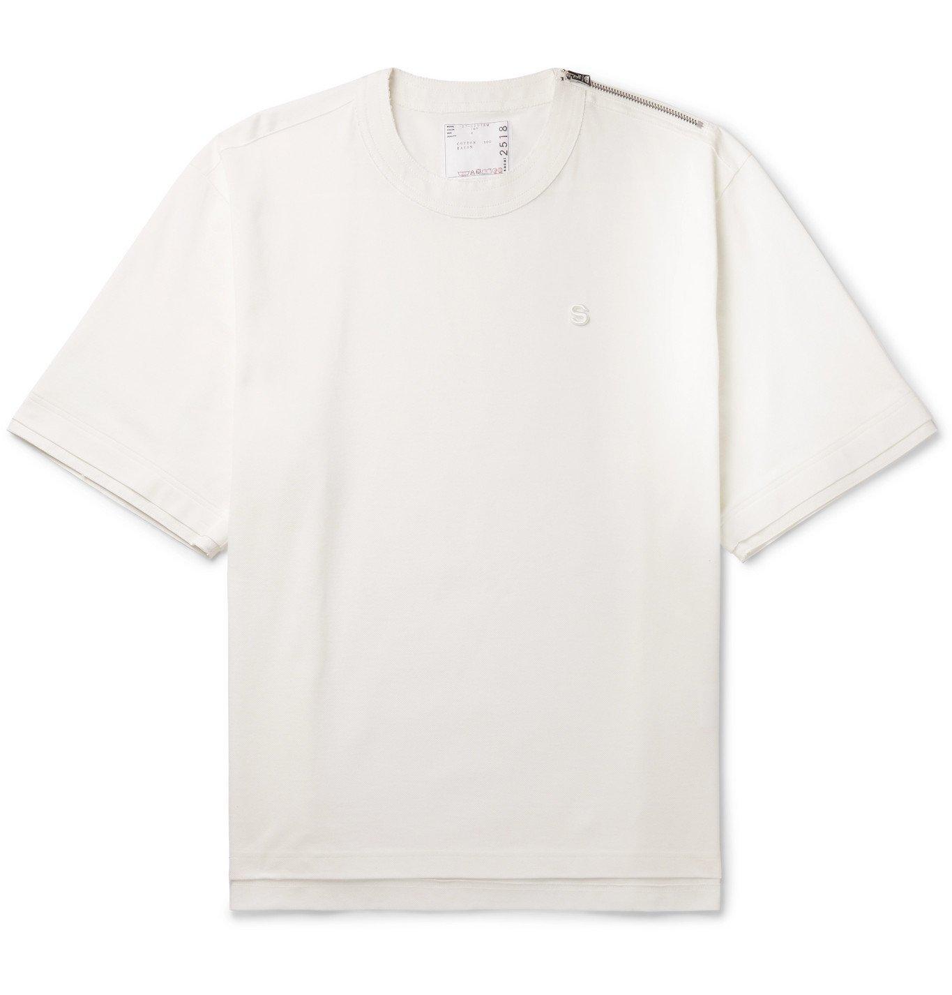 Photo: Sacai - Zip-Detailed Logo-Embroidered Cotton-Piqué T-Shirt - White