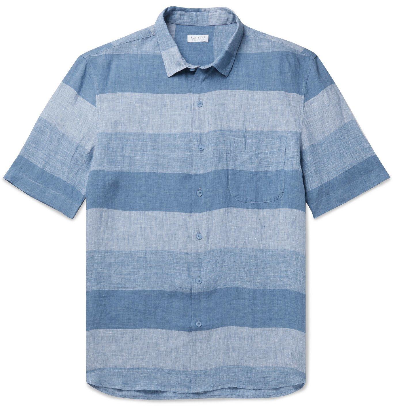 Sunspel - Mélange Linen Shirt - Blue