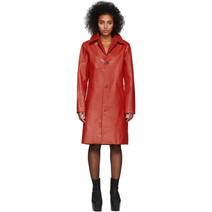 Photo: Mowalola Red Leather Stroke Coat