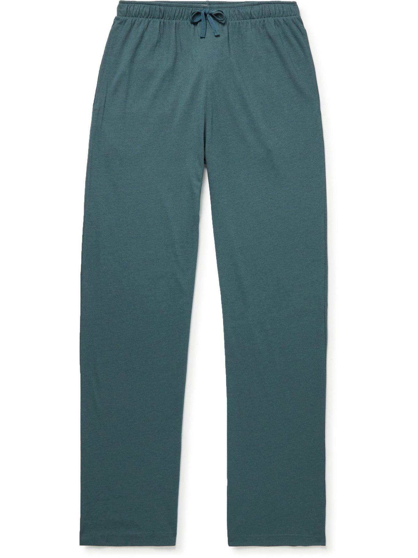 Photo: Sunspel - Lounge Cotton and Modal-Blend Jersey Pyjama Trousers - Blue