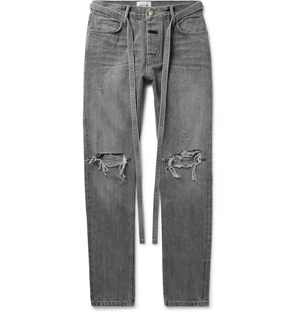 Photo: Fear of God - Slim-Fit Belted Distressed Selvedge Denim Jeans - Gray