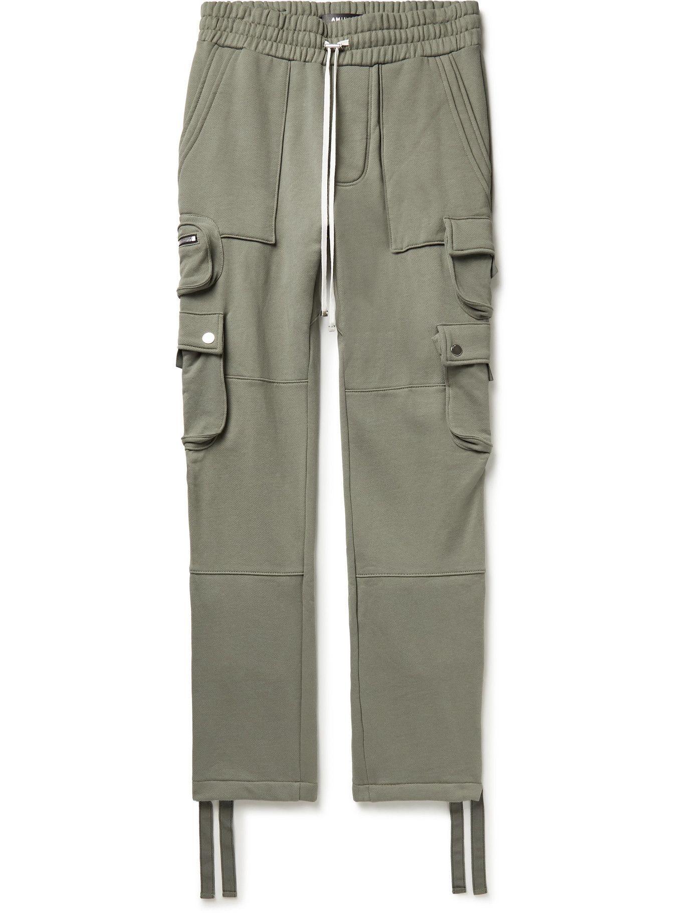 Photo: AMIRI - Slim-Fit Tapered Loopback Cotton-Jersey Cargo Sweatpants - Green