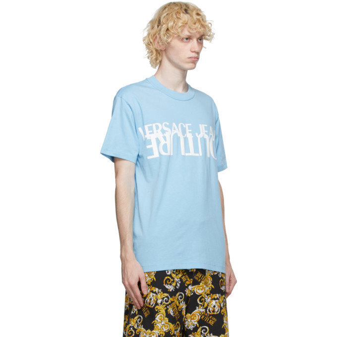Versace Jeans Couture Blue and White Logo T-Shirt