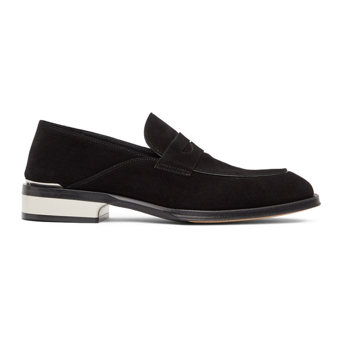 Photo: Alexander McQueen Black and Silver Suede Loafers