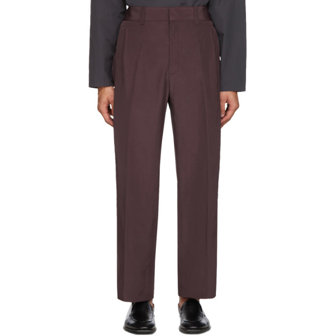 Photo: Salvatore Ferragamo Burgundy Linen Gabardine Trousers