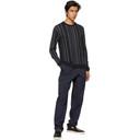 Giorgio Armani Navy Virgin Wool Intarsia Stripe Sweater