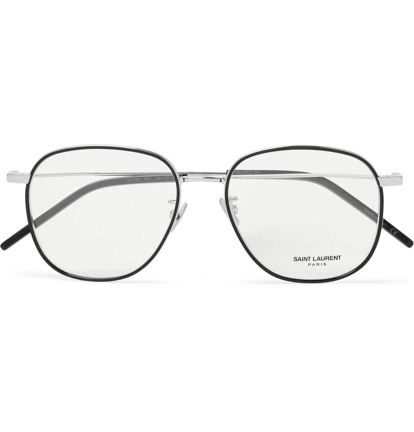Photo: SAINT LAURENT - Round-Frame Silver-Tone and Acetate Optical Glasses - Silver
